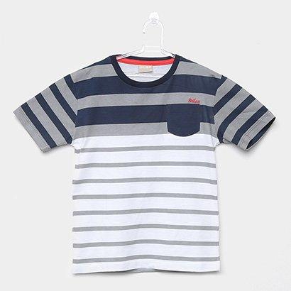 Camiseta Infantil Milon Listrada Bolso Masculina