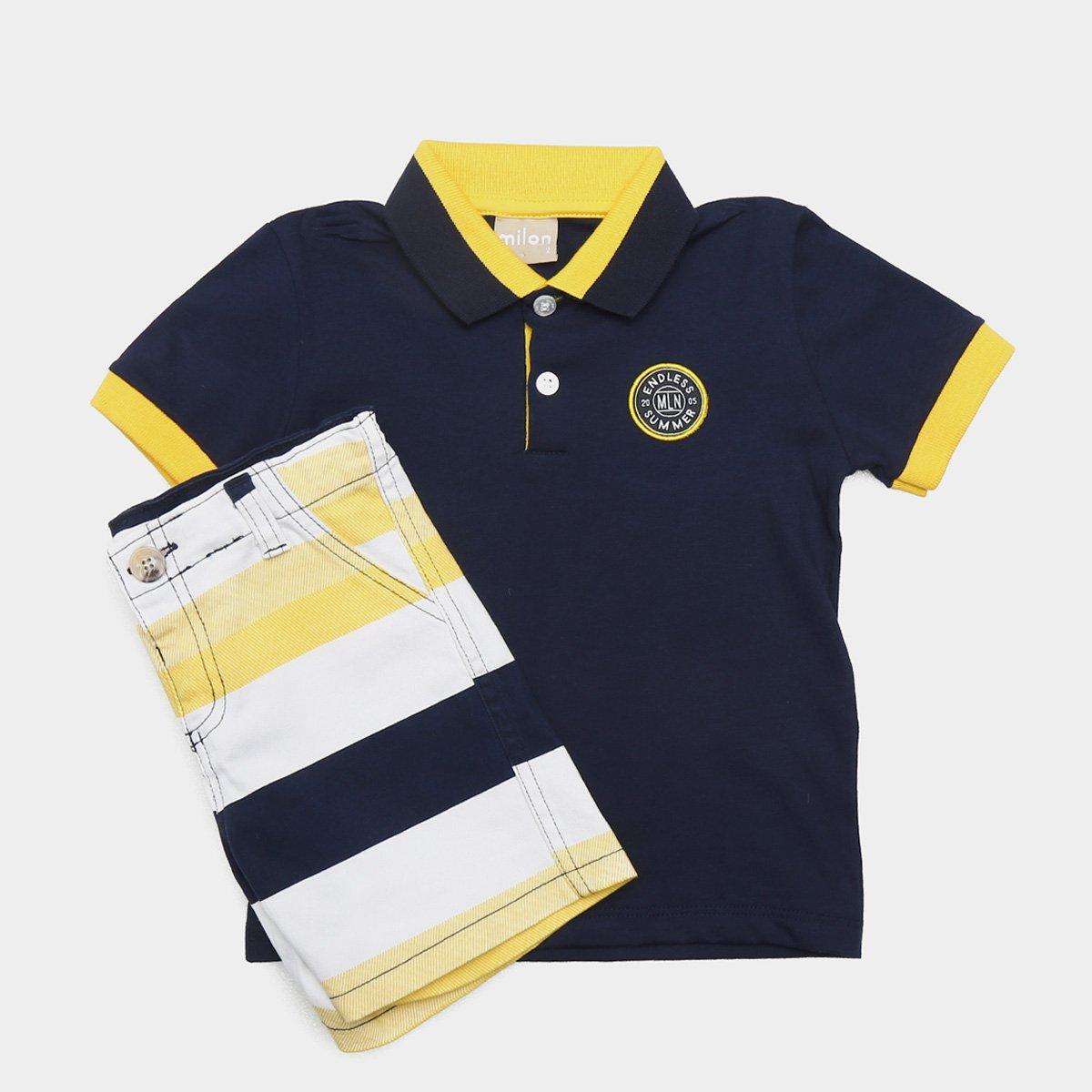 b94c333e6ee4c8 Conjunto de Camisa Polo + Bermuda Infantil Milon Masculino - Tam ...