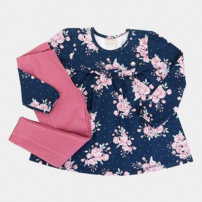 Conjunto Infantil Milon Longo Cotton Floral Feminino