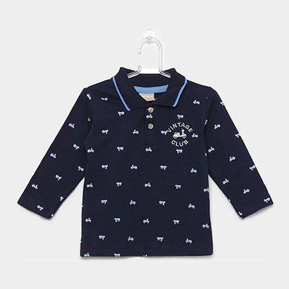 Camisa Polo Infantil Milon Manga Longa Meia Malha Masculina