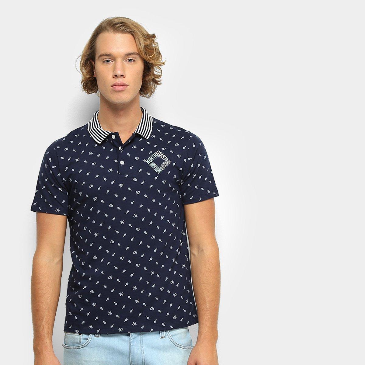1feabb6afb Camisa Polo Milon Malha Estampada Masculina