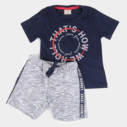 Conjunto Infantil Milon Camiseta E Bermuda Moletom Heavy Masculino