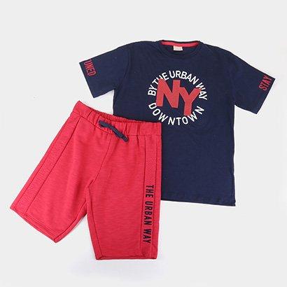 Conjunto Infantil Milon NY Camiseta + Bermuda Masculino
