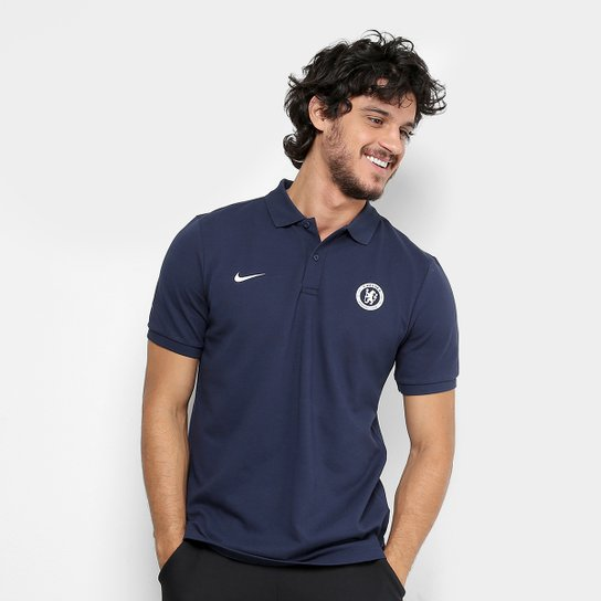 578d3302c1d59 Camisa Polo Chelsea Nike Masculina - Marinho - Compre Agora