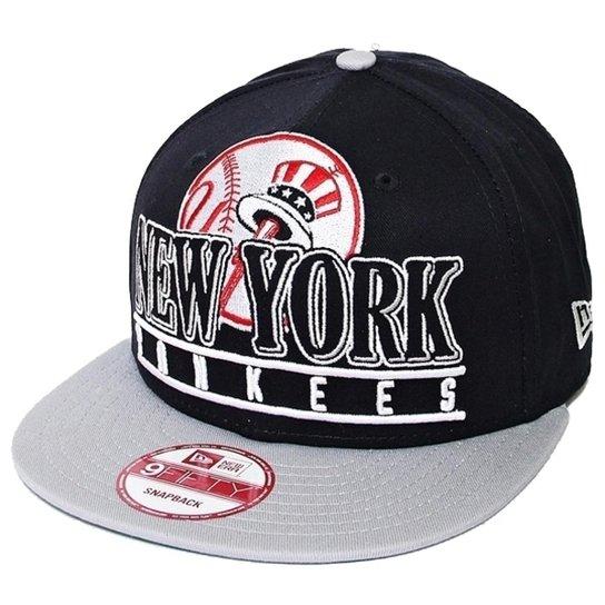 fb9b0335ff Boné New Era Aba Reta Snapback Mlb Ny Yankees Stack Punch - Marinho ...