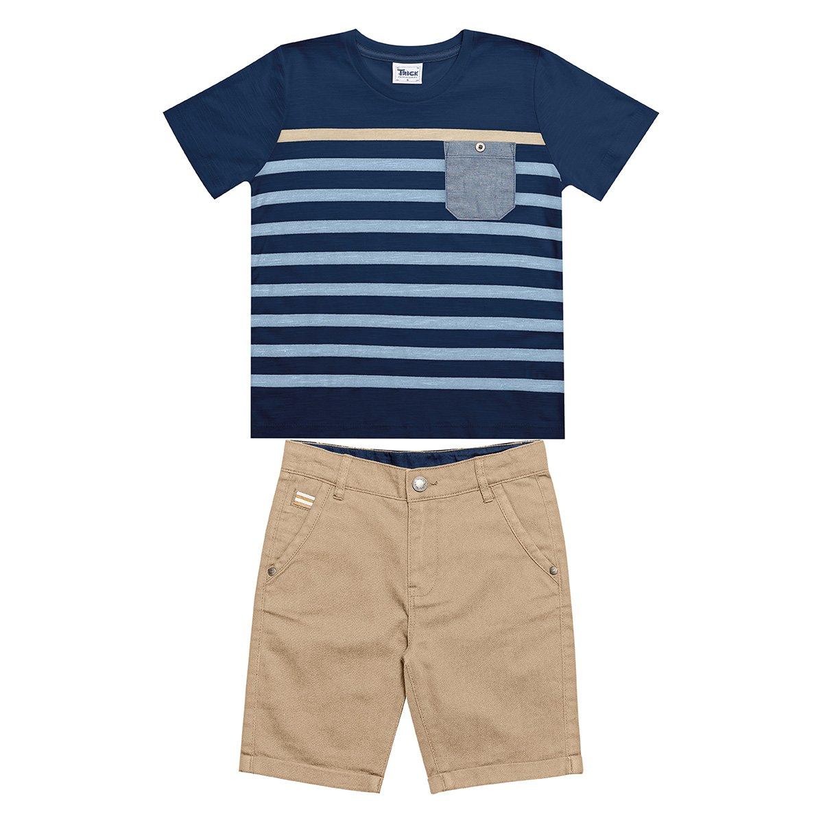 Conjunto Bebê Trick Nick Camiseta Flamê + Bermuda Masculino