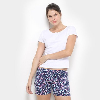Pijama Flora Zul Floral Feminino