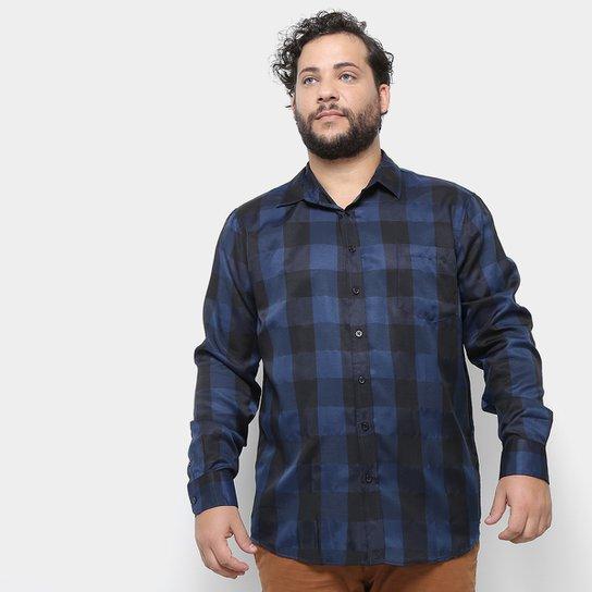 4e3d8edeb1f217 Camisa Xadrez Manga Longa Delkor Plus Size Masculina - Marinho