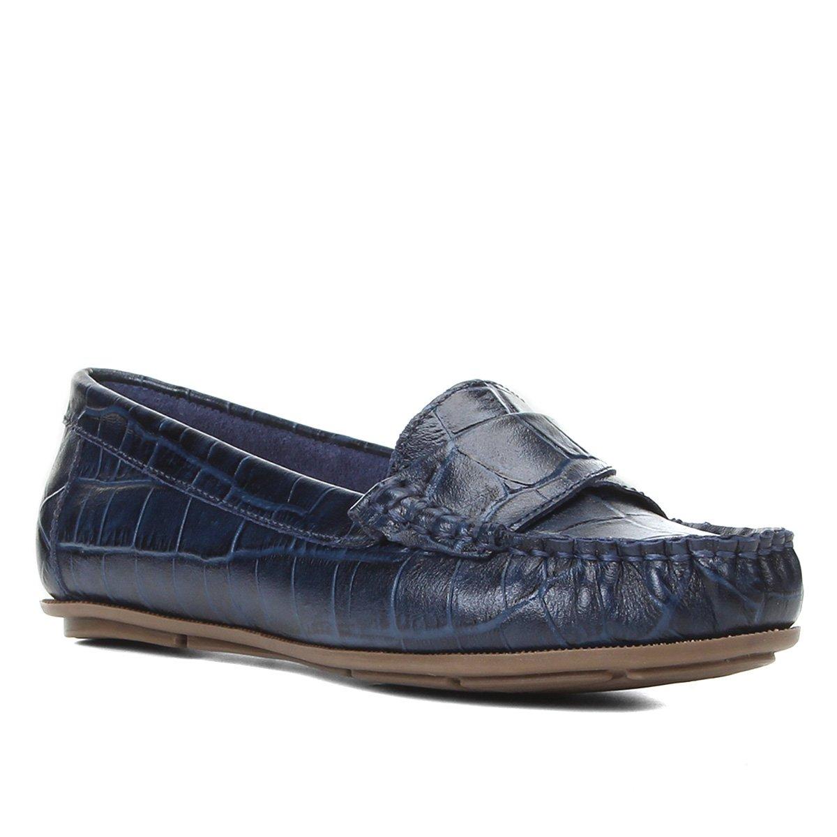 Mocassim Couro Shoestock Croco Gravata Torcida Feminino