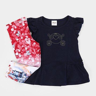 Conjunto Infantil Elian Blusa Malha + Calça Cotton Borboleta Feminino