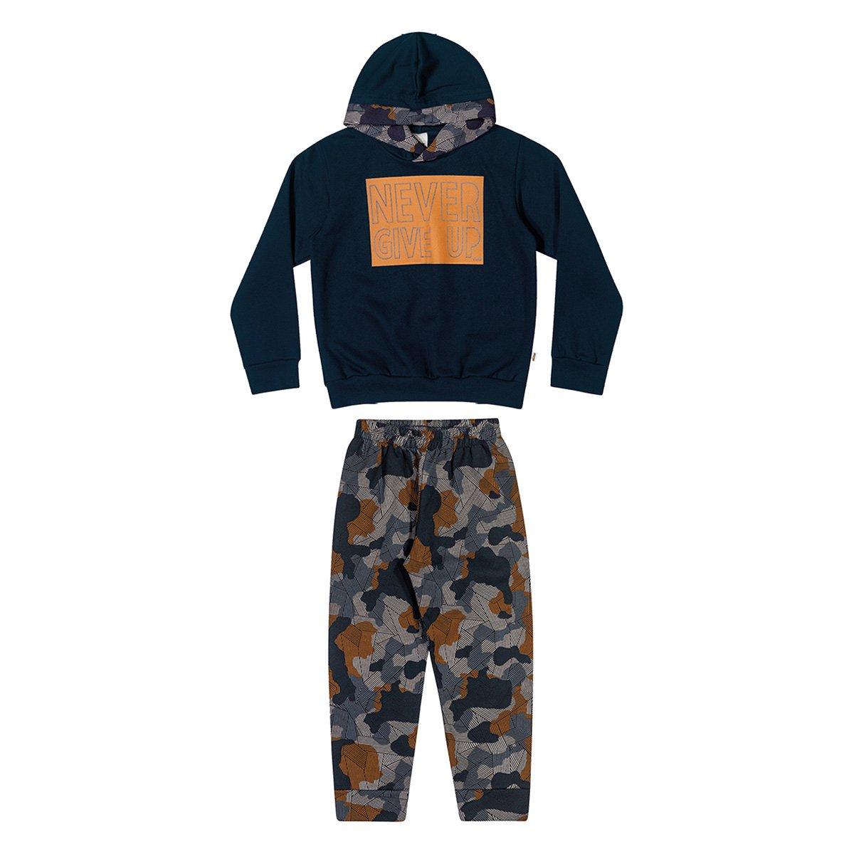 Conjunto Moletom Juvenil Elian Estampado Capuz Blusa + Calça Masculino