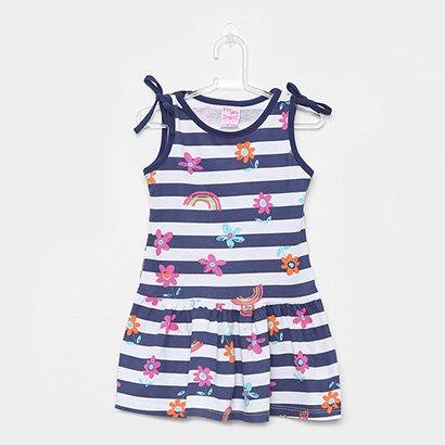 Vestido Infantil For Girl Curto Evasê Estampa Listrada Floral