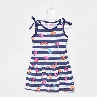 4183f23291 Vestido Infantil For Girl Curto Evasê Estampa Listrada Floral
