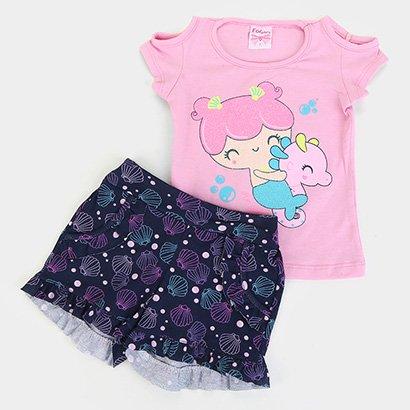 Conjunto Infantil For Girl Blusa Cotton E Short M/M Conchas-3306