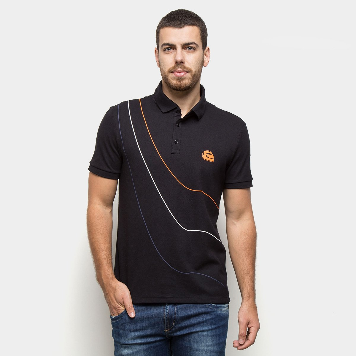 Camisa Polo RB111  Rubens Barrichello Lines Masculina