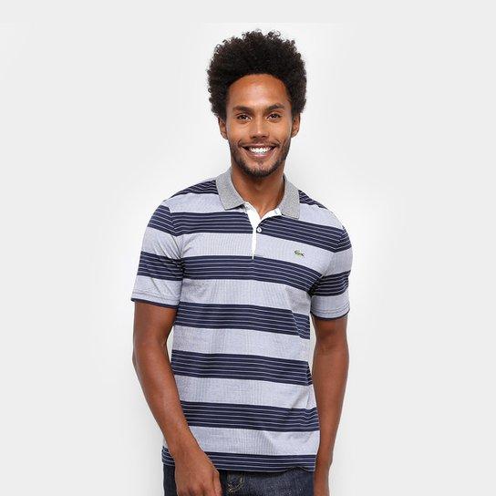 fcea477cfdf Camisa Polo Lacoste Live Jersey Bicolor Regular Fit Masculina - Marinho