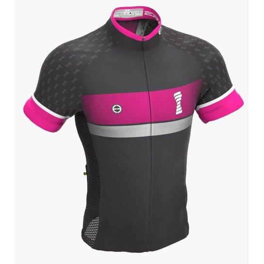 Camisa ciclismo feminina Fight for Pink ERT - Preto e Rosa Escuro ... fed269ba3ddd8