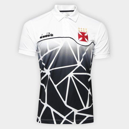 54906214d0cde Camisa Polo Vasco Viagem 2018 Atleta Diadora Masculina - Branco ...