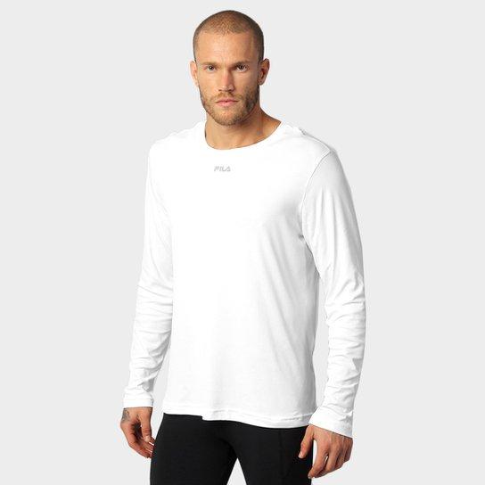 00e6ac26c Camiseta Fila Basic Com Proteção UV Manga Longa Masculina - Branco ...