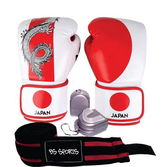 a1cb2cbf1 Kit Luva Naja Paises Japão 14oz + Bandagem + protetor Bucal - Branco