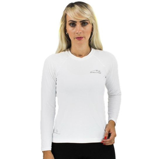 Camiseta Manga Longa Proteção Solar Feminina - Branco - Compre Agora ... 52d63c3821db3