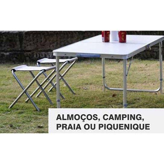 39ced49ea Conjunto Mesa Dobrável Com 2 Banquetas Em Aluminio Com Tampo De Mdf Vira  Maleta Para Camping