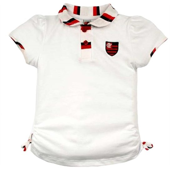 Camiseta Polo Meia Malha Menina Flamengo Reve Dor - 3 Anos - Branco ... 24b2f464b893c