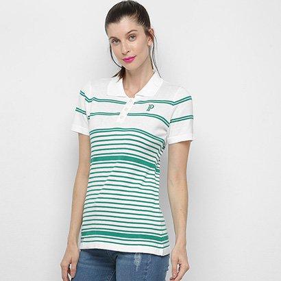 Camisa Polo Palmeiras Listras Feminina