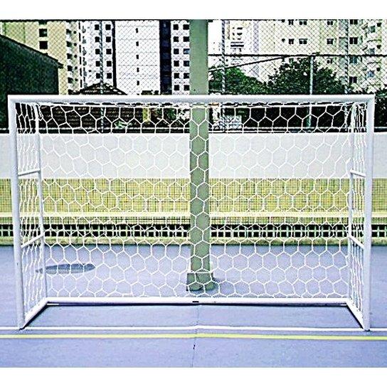 d51adb381b Par Rede Gol Futsal Colmeia Fio 4mm Seda Futebol de Salão - Branco ...
