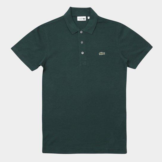 684e7badcab Camisa Polo Lacoste Super Light Masculina - Verde escuro e Branco ...