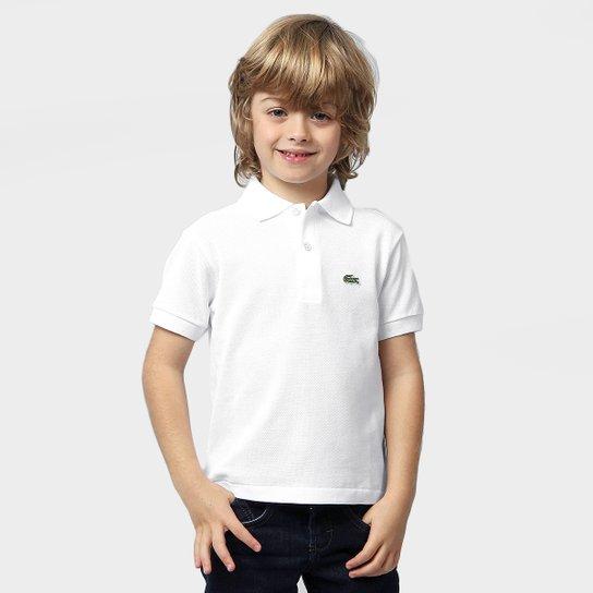 Camisa Polo Lacoste Piquet Infantil - Branco - Compre Agora  f1598e5875ebe