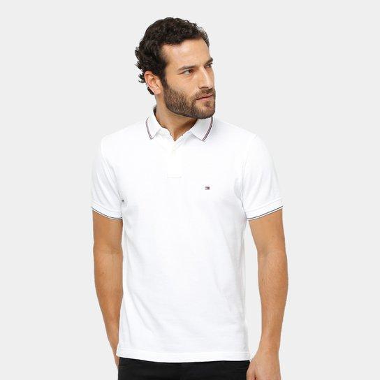c884f6a804c Camisa Polo Tommy Hilfiger Piquet Regular Fit Frisos Masculina - Branco