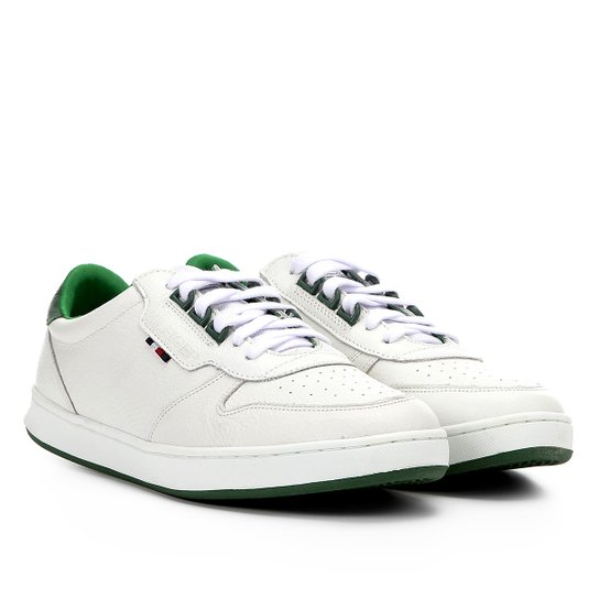 fbae0c9532 Tênis Couro Tommy Hilfiger Hoxton Masculino - Branco e Verde ...