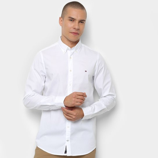 b4bee73d6f Camisa Tommy Hilfiger Manga Longa Básica Masculina - Branco - Compre ...