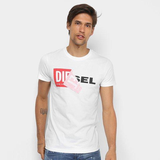 7535e345c9 Camiseta Diesel Estampada Masculina - Branco