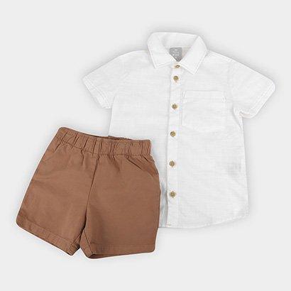 Conjunto Infantil Hering Camisa Meia Malha + Bermuda Sarja Masculino