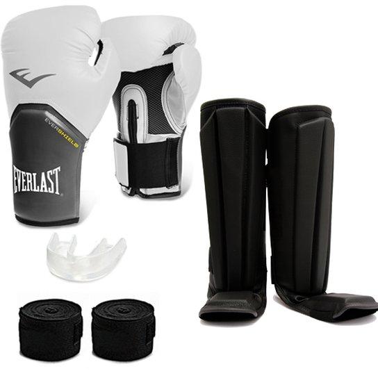 Kit Muay Thai Luva Everlast 12OZ Caneleira Bandagem Bucal - Compre ... 80ebdae43ab5e