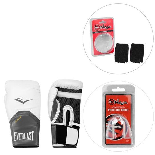 1017523b6 Kit Luva de Boxe Everlast Pro Style Elite 12oz+Bandagem+Protetor Bucal Naja  -