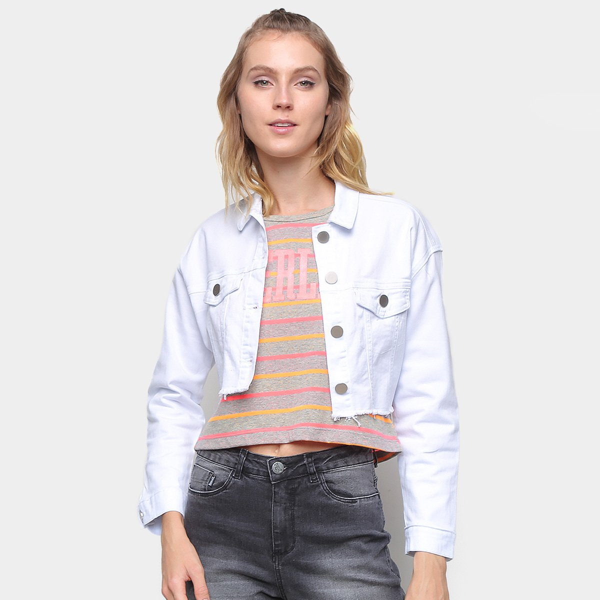 Jaqueta Jeans Cropped Everlast Color Feminina