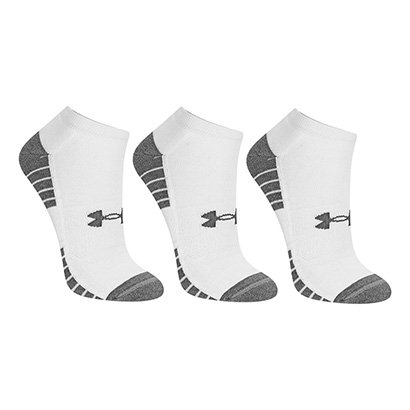 Meia Under Armour Sem Cano HeatGear Tech c/ 3 Pares