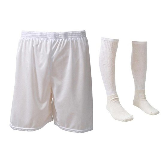 00da29b12d Kit-Calção e Meião de Futebol Liso Preto - Branco - Compre Agora ...
