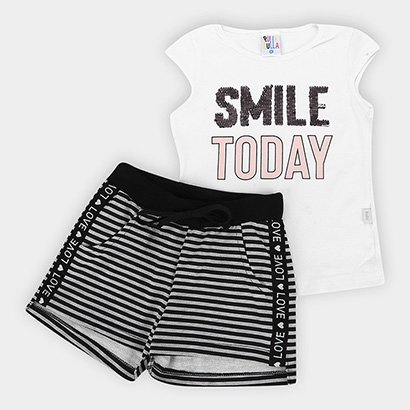 Conjunto Infantil Pulla Bulla Cotton Short Moletom Smile Today