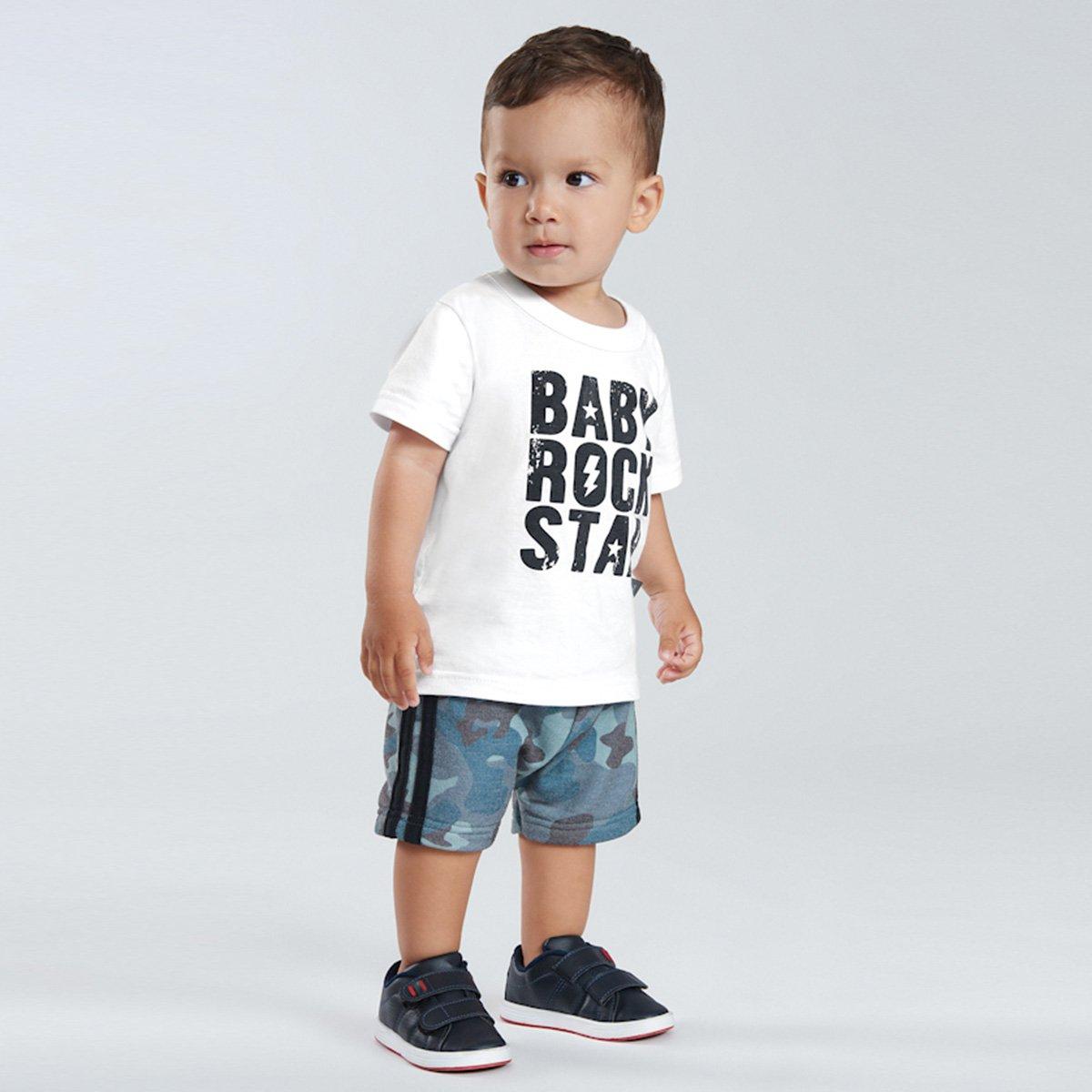 Conjunto Bebê Pulla Bulla Camiseta + Bermuda Moletom Camuflado Masculino