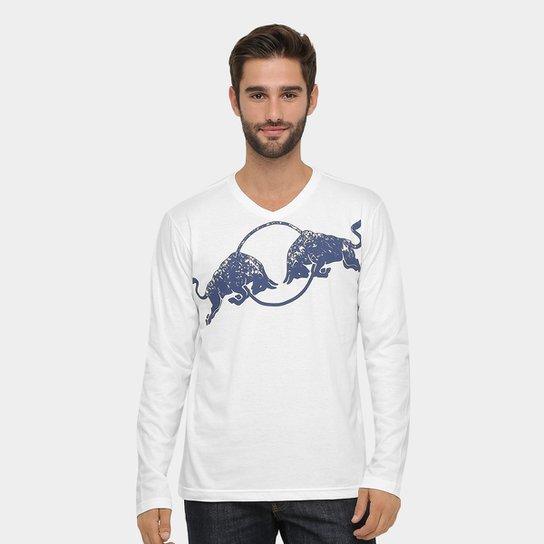 Camiseta Red Bull Racing Stock Car Bulls Asphalt Manga Longa Masculina -  Branco 0dbbcd41507