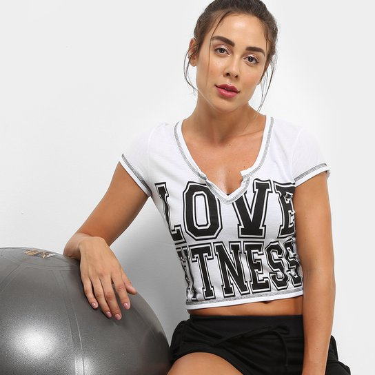 a1121b2272 Camiseta GONEW Love Fitness Feminina - Branco