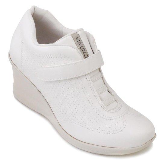 Tênis Anabela Via Uno Elástico Velcro Feminino - Branco - Compre ... 2029bfc66329b