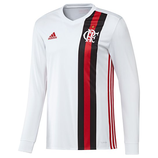 Camisa Flamengo II 17 18 Manga Longa Torcedor Adidas Masculina - Branco +Vermelho 3ad5d6f0b9239