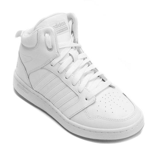 01da85dc8 Tênis Couro Cano Alto Adidas Cf Super Hoops Mid Masculino - Branco ...