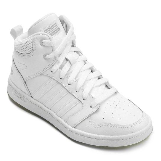 6222184868a Tênis Couro Cano Alto Adidas Cf Super Hoops Mid W Feminino - Branco ...