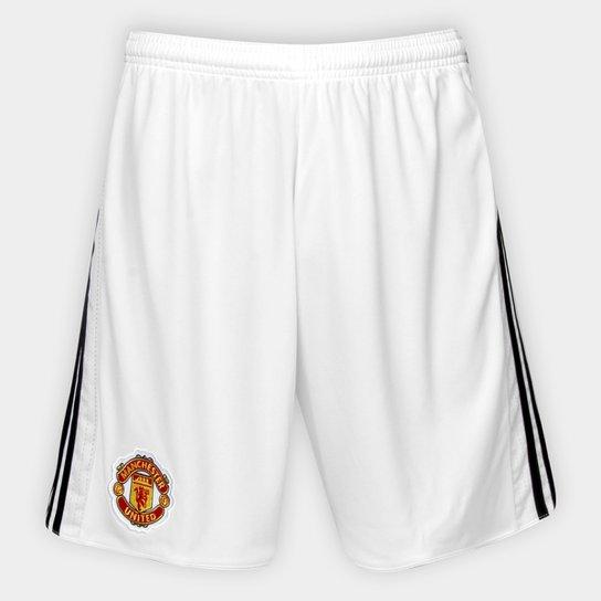 Calção Manchester United Home 17 18 Adidas Masculino - Branco ... 340cca7ab6b78